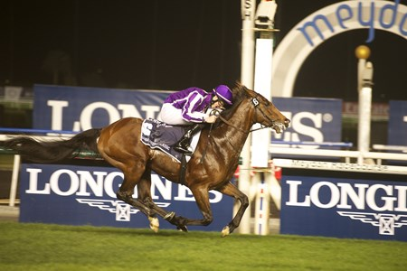 Dubai Sheema Classic, Presented By Longines, is won by St Nicholas Abbey and jockey Joseph O'Brien at the Dubai World Cup. Trained by Aidan O'Brien 3/30/2014.