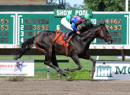 Itsmyluckyday with Paco Lopez riding romps to victory in the $150,000 Grade III Salvator Mile at Monmouth Park in Oceanport, New Jersey.
