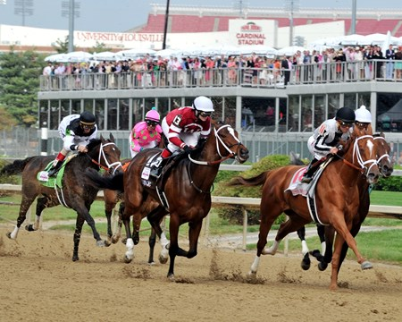 Rose Napravnik on Untapable in the 140th Longines Kentucky Oaks at Churchill Downs.
