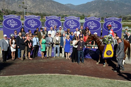 Groupie Doll with Rajiv Maragh wins the Breeders' Cup Filly and Mare Sprint, (gr. I).