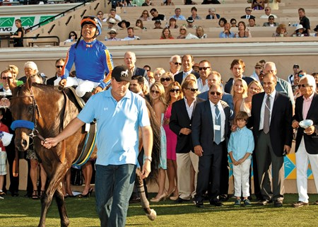 Happy owners admire Game On Dude as they prepare for THE photo after victory in the Grade I $1,000,000 Pacific Classic Sunday, August 25, 2013 at Del Mar Thoroughbred Club in Del Mar, CA.   
