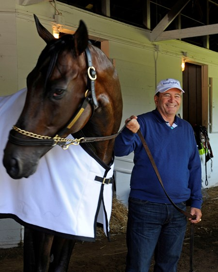 Caption:  trainer Eddie Plesa Jr. with Itsmyluckyday