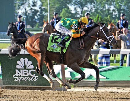 Dogwood Stables Palace Malice and jockey Mike Smith wins the 2013 Belmont Stakes.
