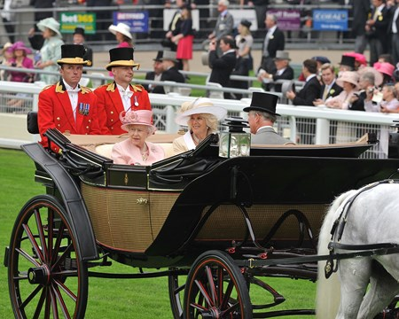 The Queen arriving at Ascot by carriage June 18, 2013.