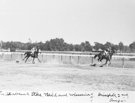 The Alabama Stakes at Saratoga Race Course on August 4, 1904. (Beldame - 1st, Dimple - 2nd)