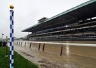 "The pole marking the margin of Secretariat's victory in the Belmont Stakes.<br><a target=""blank"" href=""http://photos.bloodhorse.com/TripleCrown/2013-Triple-Crown/Belmont-Stakes-145/29744699_jpqpwR#!i=2561075615&k=D2HMJGf"">Order This Photo</a>"