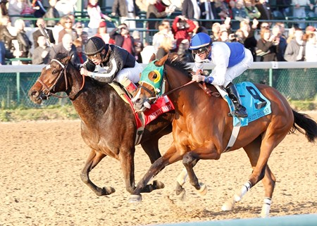 Arena Elvira (outside), trained by Hall of Famer Bill Mott and ridden by Junior Alvarado, fought off runner-up Afleeting Lady and jockey Kent Desormeux in the final yards of the 89th running of the Grade II Falls City Handicap at Churchill Downs.