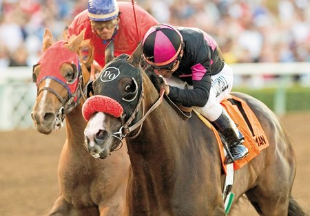 No ex-claimer of recent years has done more than Lava Man. He claimed for $50,000 in the 1st race at Del Mar on August 13, 2004. He went on to win a total of 7 Grade I races including the $1,000,000 Santa Anita Handicap pictured here.