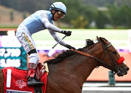 Goldencents with Rafael Bejarano win the Breeders' Cup Dirt Mile at Santa Anita Park on October 31, 2014. 