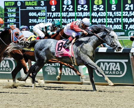Norumbega came from off the pace to take the Grade II Brooklyn Invitational Stakes at Belmont Park.