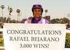 Rafael Bejarano celebrates win number 3,000 at Hollywood Park.