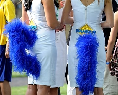 Hansen girls showing off their blue tails at Keeneland Blue Grass Stakes day.