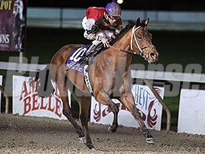 Over a Barrel wins the 2015 LA Bred Premier Night Gentlemen Starter Stakes.