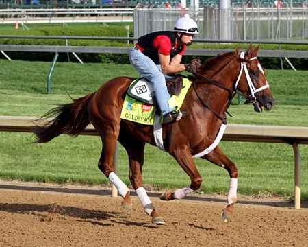 Golden Soul on the track at Churchill Downs on May 2, 2013. Photo By: Chad B. Harmon