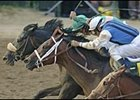 Giacomo, background, passes Closing Argument en route to winning the Kentucky Derby.