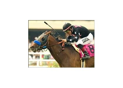 Warning Zone wins the Generous Stakes, Friday at Hollywood Park.