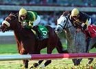 Spook Express (5), with Mike Smith riding, edges out favorite Gaviola (1) and Jerry Bailey to win the $100,000 Suwannee River Handicap at Gulfstream Park in Hallandale, Fla. Sunday, Feb. 18, 2001.