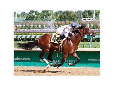 Positively broke his maiden by 1 3/4 lengths at Churchill Downs on June 8.