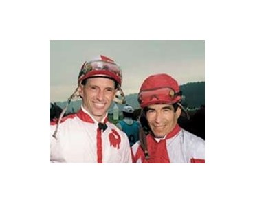 Russell Baze poses with racing's current winningest jockey, Laffit Pincay, Jr.