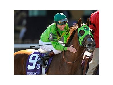 "Richard Migliore and Desert Code after winning the Breeders' Cup Turf Sprint.<br><a target=""blank"" href=""http://www.bloodhorse.com/horse-racing/photo-store?ref=http%3A%2F%2Fpictopia.com%2Fperl%2Fgal%3Fprovider_id%3D368%26ptp_photo_id%3D6484621%26ref%3Dstory"">Order This Photo</a>"