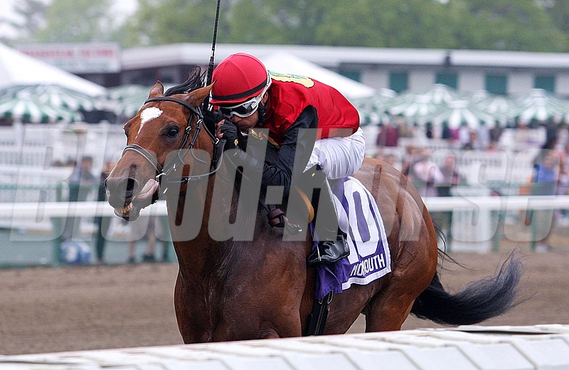 A.P. Indian and jockey Daniel Centeno capture the $75,000 Decathlon Stakes at Monmouth Park on opening day.