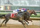 Soto, rear, charges to the finish against Dynever to win the West Virginia Derby.