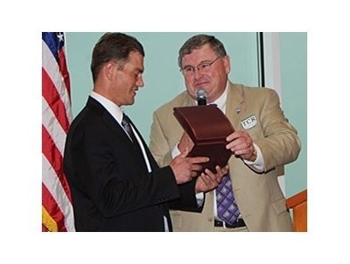 Last year, Jeremy Best (left), received the Race Track Chaplaincy of America's 2011 White Horse Award.
