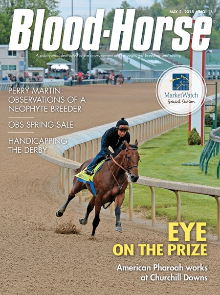 May 2, 2015 Issue 18 cover of the Blood-Hore featuring American Pharoah preparing for the Kentucky Derby at Churchill Downs.