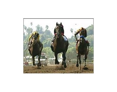 Rock Hard Ten, center, runs by Roman Ruler, right, and Choctaw Nation, left, to win the Goodwood Breeders' Cup Handicap, Saturday at Santa Anita.