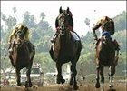 Rock Hard Ten, center, runs by Roman Ruler, right, and Choctaw Nation, left, to win the Goodwood Breeders' Cup Handicap.