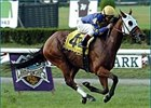 Lucifer's Stone, ridden by Jose Santos, captures the Garden City Breeders' Cup, Sunday at Belmont.