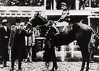 Sir Barton, after winning the 1919 Kentucky Derby, on his way to racing's first Triple Crown.