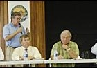 Listening to Tim Smith speak Monday were, from left to right: Dennis Brida, Jack Knowlton, Richard Bomze, and Charles Hayward.