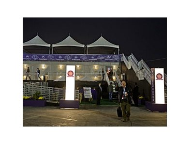 The Breeders' Cup marquee facility at Santa Anita Park.