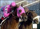 Saint Liam, left, holds off a late run by Seek Gold to win the Clark Handicap.
