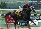 "Silver Train, en route to victory in the Metropolitan Handicap. <a target=""blank"" href=""http://www.bloodhorse.com/horse-racing/photo-store?ref=http%3A%2F%2Fpictopia.com%2Fperl%2Fgal%3Fgallery_id%3DS212412%26process%3Dgallery%26provider_id%3D368%26ptp_photo_id%3D434496%26sequencenum%3D%26page%3D"">Order This Photo</a>"