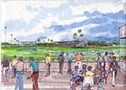 Artist Depiction of proposed track expansions at Fairplex Park.