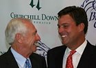 Breeders' Cup president and CEO Greg Avioli (right) talks with Kentucky Governor Steve Beshear after the announcement that Churchill Downs will host the Breeders' Cup in 2011.