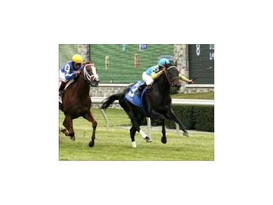 Moudez wins the Forerunner Stakes on the grass, Thursday at Keeneland.
