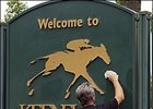"Sprucing up the ""Welcome to Keeneland"" sign in preparation for the<br>Keeneland September yearling sale that begins Monday and runs through September 27."