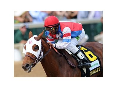 "Groupie Doll is all alone at the finish of the Humana Distaff Stakes.<br><a target=""blank"" href=""http://photos.bloodhorse.com/AtTheRaces-1/at-the-races-2012/22274956_jFd5jM#!i=1830421925&k=M2RfXjC"">Order This Photo</a>"