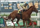 Strong Contender, here winning the Dwyer, has high hopes for Saturday.