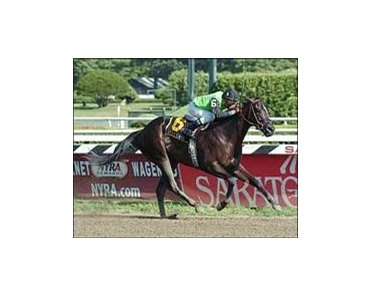 "More Happy and Rafael Bejarano win the Adirondack Stakes, Wednesday at Saratoga.<br><a target=""blank"" href=""http://www.bloodhorse.com/horse-racing/photo-store?ref=http%3A%2F%2Fpictopia.com%2Fperl%2Fgal%3Fprovider_id%3D368%26ptp_photo_id%3D2017959%26ref%3Dstory"">Order This Photo</a>"