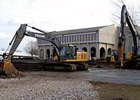 Construction equipment at work outside the Fasig-Tipton offices in Lexington.