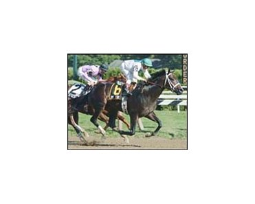 Jump Start, shown winning the Saratoga Special, will begin stud duty in 2003.