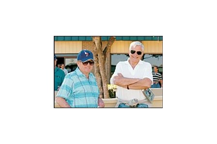 Winery tycoon Jess Jackson, right, with trainer Bruce Headley.