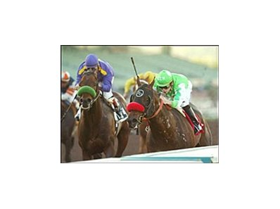 Hosco and Tyler Baze, right, beat Roi Charmant, left, in the San Miguel Stakes, Sunday at Santa Anita.