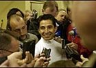 Jockey Jose Santos, addressing the media during this year's Triple Crown run, rides Funny Cide in Sunday's Haskell.