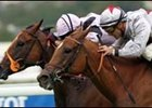 Satwa Queen (near) overtakes Bahia Breeze to win the Darley Prix Jean Romanet.
