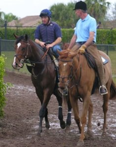 Nicanor (left) with Peter Brette aboard heads to training accompanied by Michael Matz.